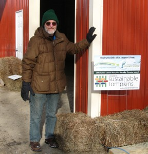 Erick Smith, founder of Cayuga Pure Organics, is looking forward to seeing their team back to work cleaning the 2013 bean harvest in their new super-insulated beanery.