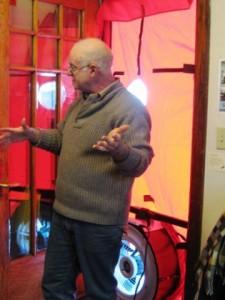 Mark Pierce demonstrates blower door test. copy