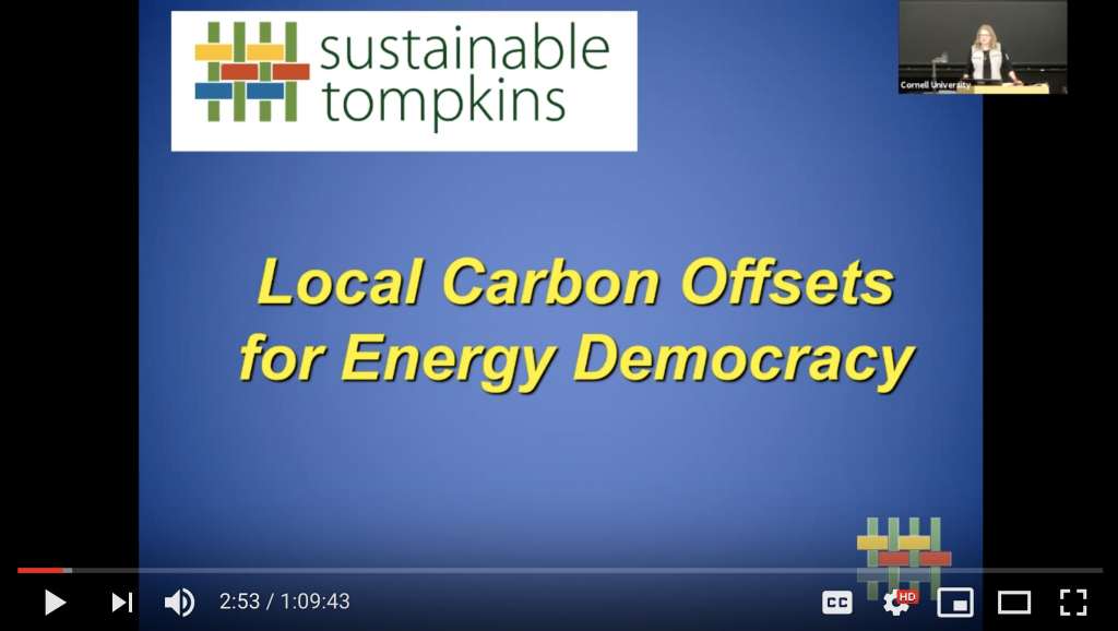 Opening slide of presentation on Local Carbon Offsets for Energy Democracy