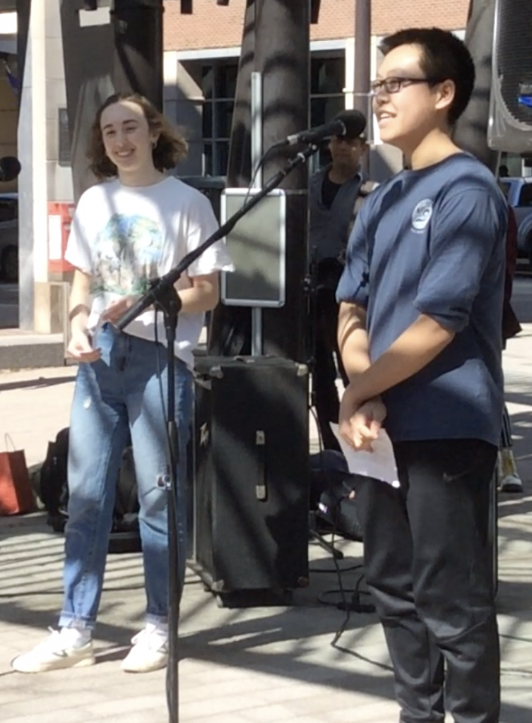 Tilden Chao and Abigail Glickman inspire other students at the Ithaca Global Climate Strike on March 15 with their Keep It Cool Tompkins project funded by Sustainable Tompkins.